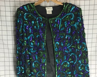 Vintage Blue Purple Green Full Sequin Sparkly Pure Silk Jacket