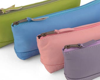Leather Pencil Case, zip closure. Available in lots of colors.