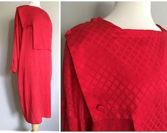Vintage RED SILK Dress/1980s Does 1920s/Column Dress/size medium-large
