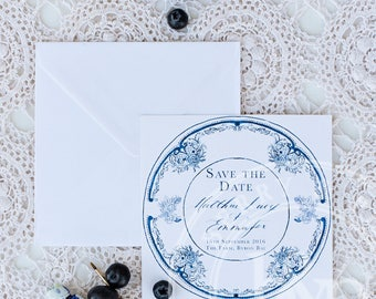 Blue and White china save the date and invitation suite   Custom Calligraphy Wedding   Wedding   French Blue Collection