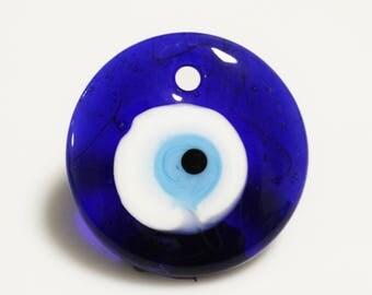 Blue Glass Evil Eye Pendant 50 mm, Large Ethnic Pendant , Jewelry Making Supplies (AL264)