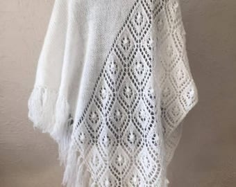 Hand knitted white shawl