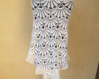 Hand crocheted white shawl