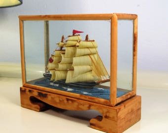 Vintage Ship Model in a box made of Bamboo