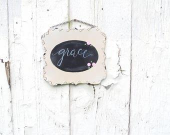 Tin Signs, Metal Sign, Hanging Chalkboard, Wedding gift, Grace chalk board, farmhouse decor, Christian Wall decor, custom sign