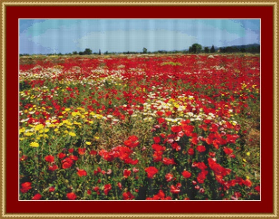 Field Of Poppies II Cross Stitch Pattern /Digital PDF Files /Instant downloadable