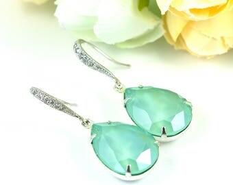 Mint Earrings Sea Foam Earrings Pacific Opal Earrings Swarovski Crystal Bridesmaid Gift Mint Green Crystal Earrings Drop Earrings MT31H