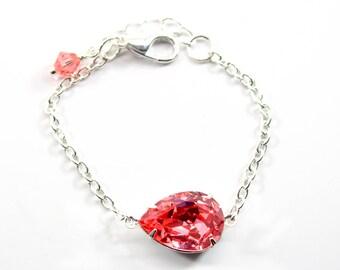 Coral Bracelet Swarovski Crystal Chain Bracelet Bridesmaid Gift Sterling Silver Teardrop Pendant Matching Set Many Colors Available CO31BR