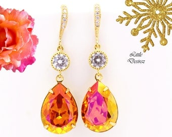 Orange Fuchsia Earrings Gold Earrings Swarovski Teardrop Astral Pink Earrings Bridesmaid Gift Orange Pink Bridal Earrings AP31HC