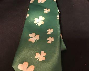 Vintage Fashion Tie Irish Shamrock Necktie St Patricks Day