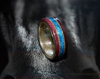 Silver half dollar coin ring with purple heart wood and turquoise inlay