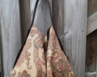 Boho Style/ Fabric Hobo Bag w/ Tan Leather Strap /Buckle Detail