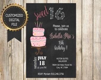 16 BIRTHDAY INVITATION - Birthday Party Invitation - Digital File - Fully Customized - SWEET 16 - Quinceañera - Bday Chalkboard Invitation