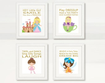 BEAUTIFUL PRINCESS Wall Art, Girl Room Wall Art, Princess, Tea Party, Ballerina, Fairy Wall Decor, Instant Download, Digital Printable