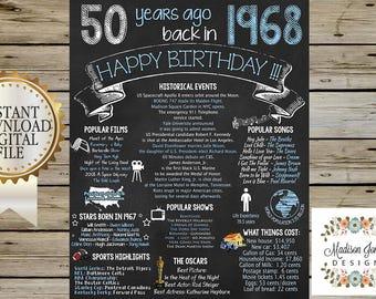 1968 BIRTHDAY CHALKBOARD - 1968 Birthday SIGN - 1968 Birthday Poster - Instant Download - 50 Years Ago in 1968 - Digital Printable