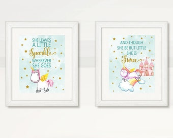 UNICORN Baby GIRL Wall Art, She Leaves a little SPARKLE wherever She Goes, Princess Castle Rainbow Unicorn Wall Art, Instant Download