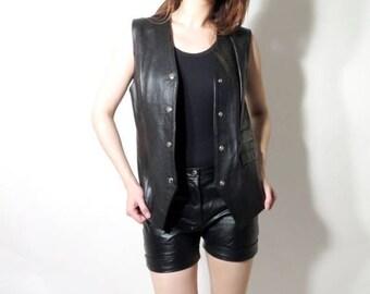 SALE Vintage Leather Vest / Leather Vest / Woman Leather Vest / London Vest / Vest Size 12