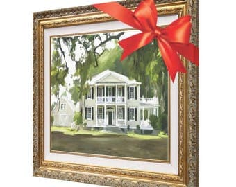 Housewarming Gift - Custom House Painting - Personalized Fine Art - Custom Home Portrait - Real Estate 16x20