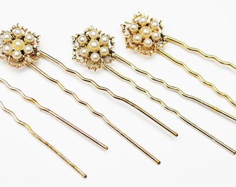Pearl Flower  Hair pins gold and white - bobby pins -  lot of four hair clip  - Wedding Bride