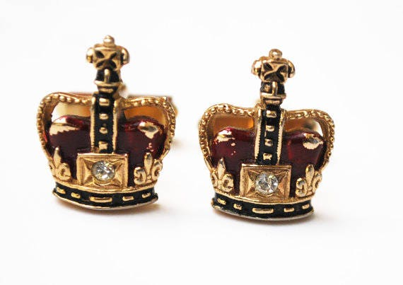 Swank Crown Cuff links - Red clear Rhinestone - Gold - Heraldic -Cufflinks