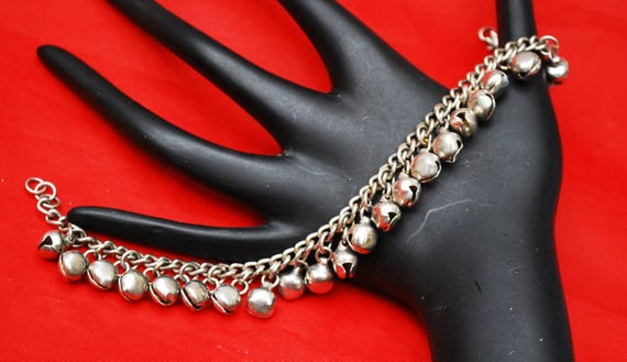 Silver cha cha ball Bracelet  Anklet - dangle balls- Gypsy - 9 inches long - sterling clasp.
