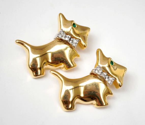 Scottie scatter pins - two dog brooches - gold figurine pin - rhinestone brooch