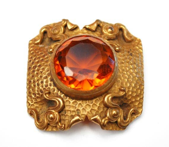 Victorian orange crystal gold brooch - Gilt Repousse metal  - large rhinestone - c clasp  pin