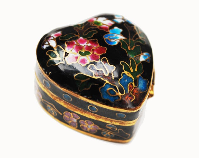 Cloisonne Heart Pill box - small black enameling -floral flower - blue interior -hinged trinket ring box