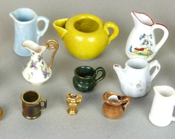 Vintage Miniature Pitchers - Collection of 15 Pitchers - Glass, China, Pottery - Hand Painted - Doll House