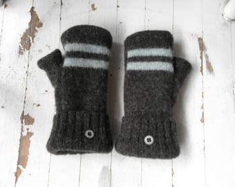 Dark Gray & Blue Sweater Mittens - Upcycled Fingerless Winter Mittens! - Fleece Lined - Repurposed! Eco Fashion