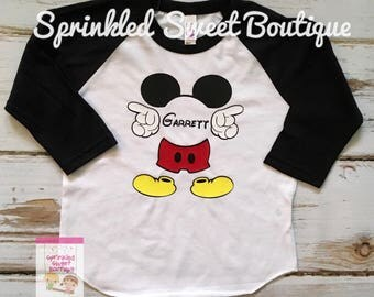 Mickey Mouse Custom Name Inspired Raglan Baseball Shirt Women Men Kid Baby Family Perfect for Disney World Matching Family Trip