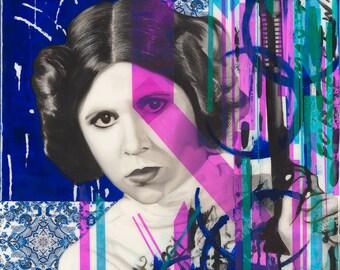 "Princess Leia-Remix, 24""x30"""" Tribute Fan Art, Original Oil Painting"