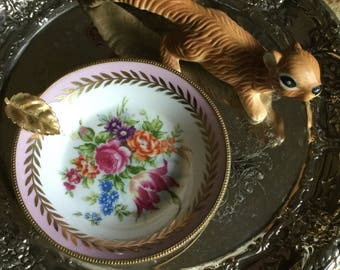 "Beautiful Lefton China 5"" Decorative Dish/Bowl with Gold Leaf/Pink Trim/Floral Spray"