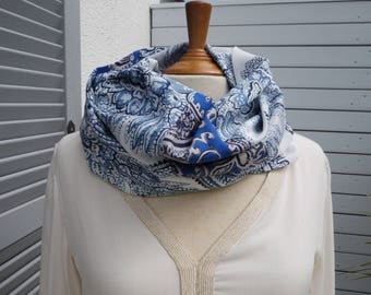 Snood or infinity scarf made circular scarf (2 different, like a patchwork) Indian cotton voile