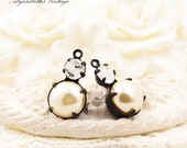 Ivory Pearl & White Givre Rhinestone Double Set Drop or Connector 16x9mm Brass, Matte Black or Antique Silver Settings - 2