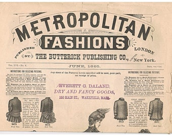 1885 Butterick Publishing - Metropolitan Fashions - Pattern Catalog  Original Antique Newspaper Dress Advertising - 8 Pages of Illustrations