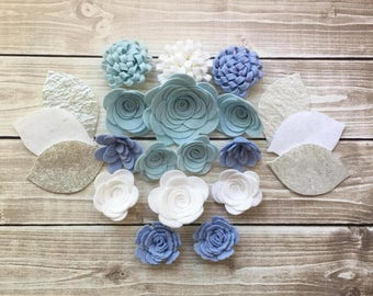 Handmade Wool Felt Flowers, Blue, White and Silver