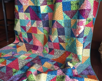 Large Twin Size Patchwork Quilt Green Blue Navy Purple Pink  Jewel Tones Bright Colorful Rainbow Floral Heirloom Quality