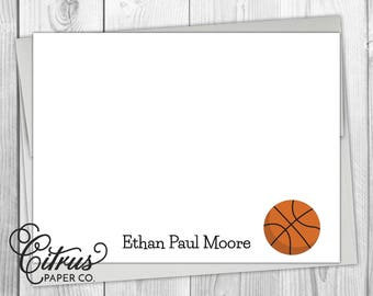 Baby boy basketball etsy basketball boys note cards stationery stationary sports flat note cards personalized athletic baby thank you negle Choice Image