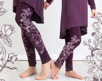 Burgundy Rose - KIDS leggings