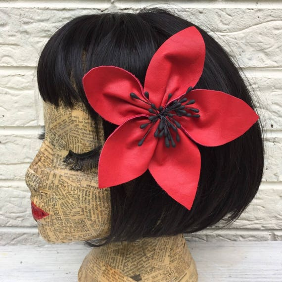 Vintage Red Leather Large flower Hair Clip Rockabilly Pinup 1950's