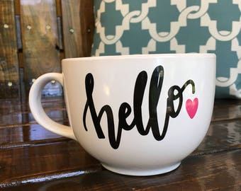 Hello Love Ceramic 15 ounce Wide Mouth Mug