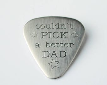 Father's Day Gift for dad, Personalized Guitar Pick, Stainless Steel Guitar Pick, Custom guitar pick, actual handwriting guitar pick funny