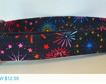"Sale - 40% Off Dog Collar -Multi Colored Fire Works Dog Collar - ""Sparkle"""