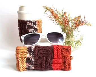 Set of 2. Brown and Red Glasses Case and Coffee Cup Cozy. Wonderful Gift For You