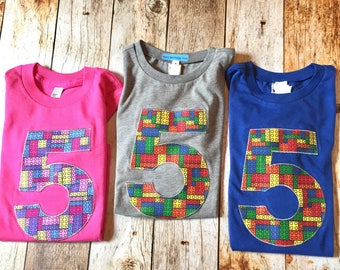 Girls or boys Building Bricks birthday shirt short sleeve indigo blocks red yellow blue green primary colors any age number 1 2 3 4 5 6 7 8