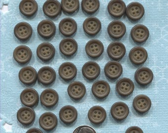 Set of 38 Vintage Brown Plastic Buttons-( 1/2 inch)- Item# 545