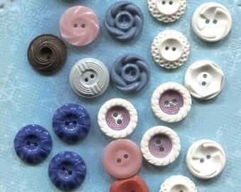 45 Vintage Colorful Plastic Buttons- Item# 566