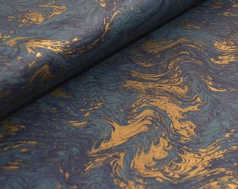 Traditional Marbled Style Italian Paper - Blue and Gold Marble