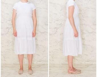 White lace summer dress | White cotton sleeveless | White summer dress boho hippie folk | Feminine sleeveless summer | Spaghetti straps